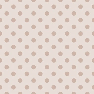 Seamless vector pattern with retro brown polka dots on a light beige background.