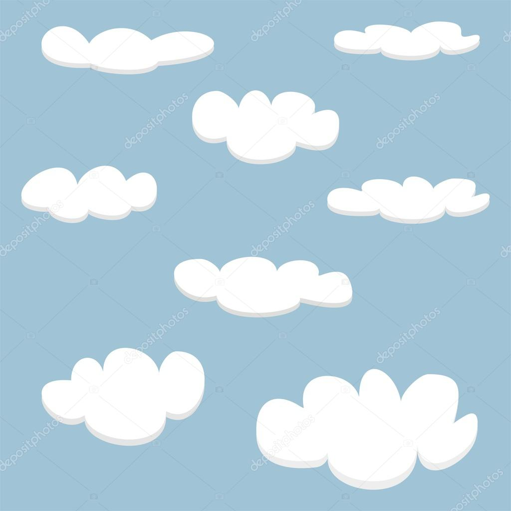 White clouds on blue sky background set. Cloud computing concept cartoon collection for flat design and use in a social networks or vector illustration