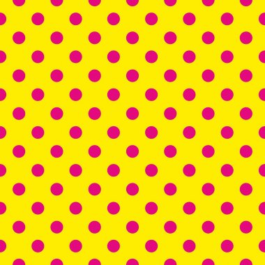 Seamless vector pattern with neon pink polka dots on a sunny yellow background.
