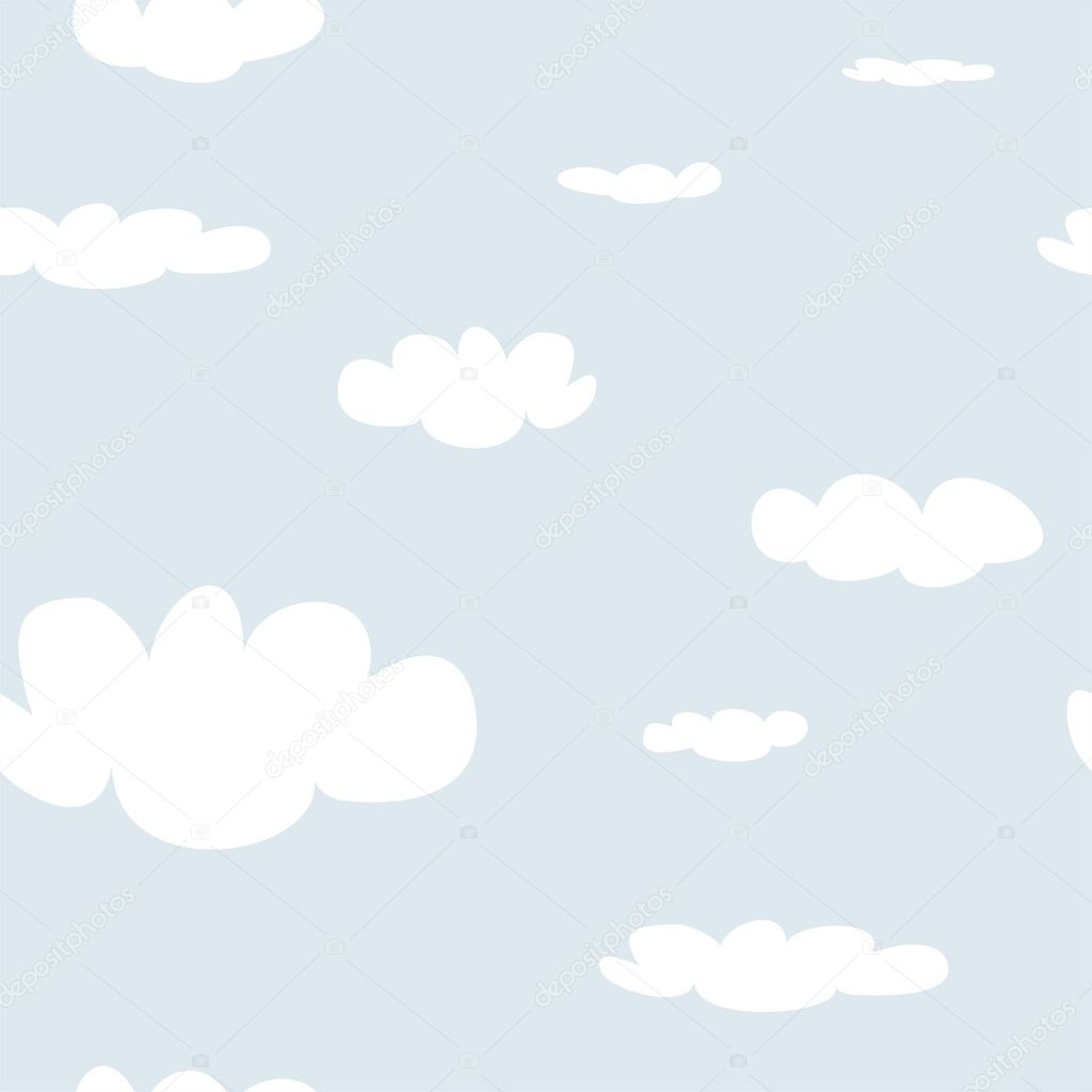 Seamless vector pattern with white clouds on blue sky background. Cloud computing concept cartoon flat design for web design, summer blog or desktop wallpaper.