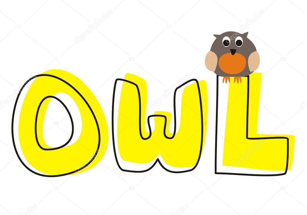 o es para owl - ilustración vectorial con divertido búho mirando ...