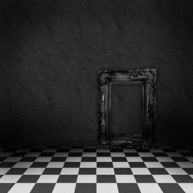 Empty, dark, psychedelic room with black and white checker on the floor and empty black frame. Nightmare or dream, museum scene or art gallery.