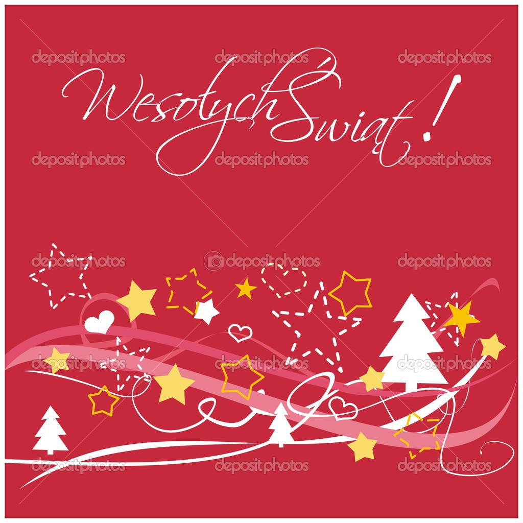 Christmas vector red card or invitation with Merry Christmas ...