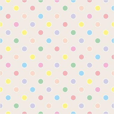 Seamless vector sweet pattern or texture with colorful pastel polka dots with white border on beige background for kids background