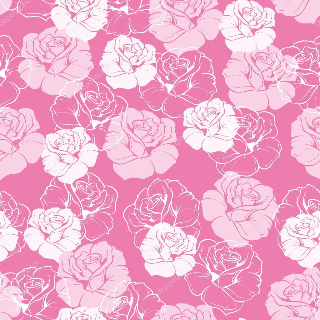 Seamless vector floral pattern with pink and white roses on sweet candy pink background.