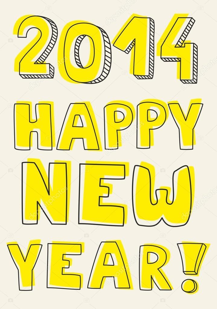 Frohes neues Jahr 2014 Vektor hand gezeichneten Wünsche. Doodle ...