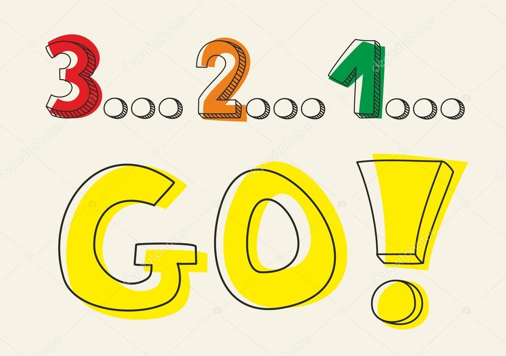 Countdown: 1 2 3 go! Hand drawn doodle colorful vector ...