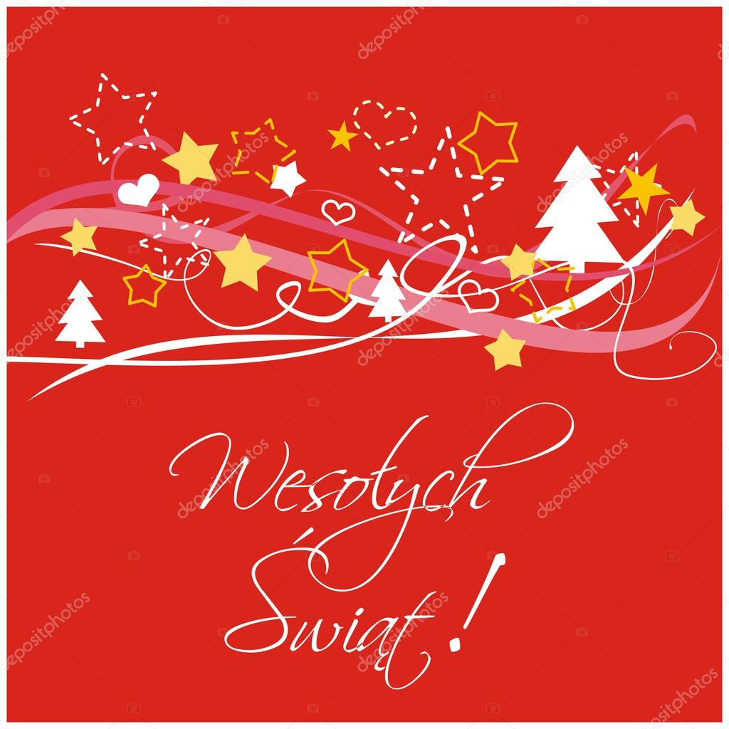 Christmas red vector card or invitation for party with Merry ...