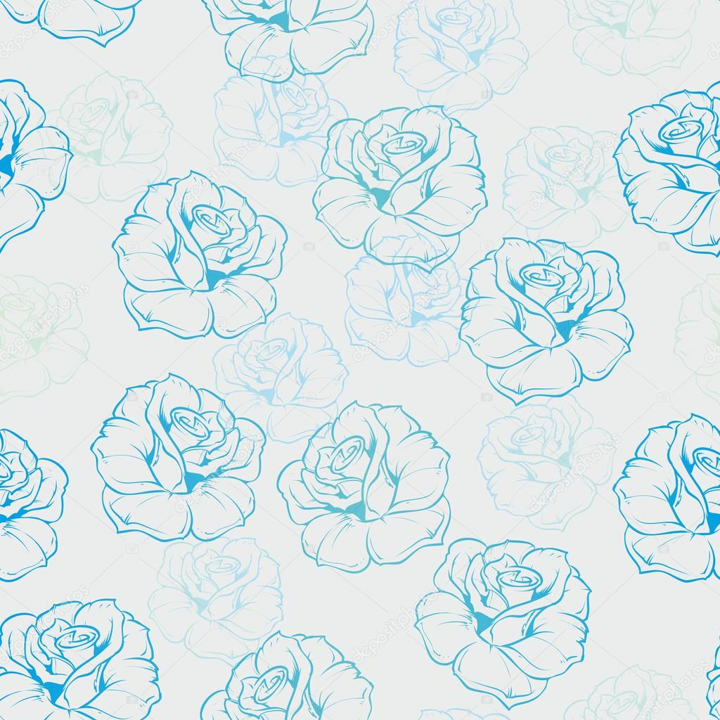 Seamless vector floral pattern with blue and mint ocean green roses on grey background.