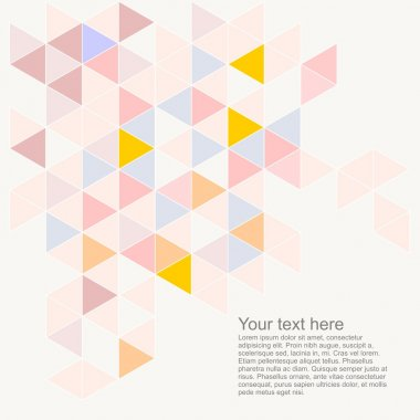 Pastel colorful vector background with empty space for text. Triangle geometric mosaic card document template. Hipster flat surface design with aztec chevron zigzag print