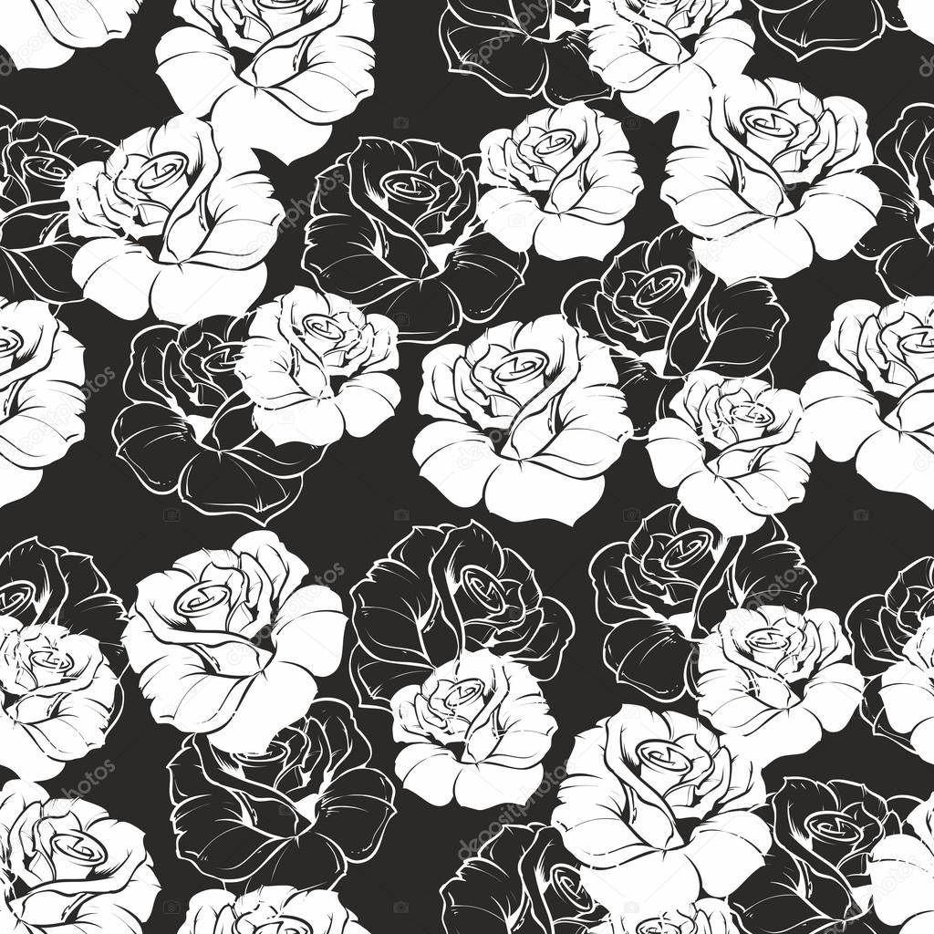 Black Flower Rose From Lace On White Background: Seamless Vector Dark Floral Pattern With White Retro Roses