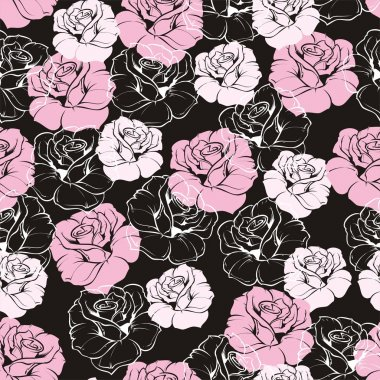 Seamless vector dark floral pattern with pink and white retro roses on black background. Beautiful abstract vintage texture with pink flowers and cute background.