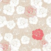 Fotografie Seamless retro vector floral pattern with classic white and red roses on beige background. Beautiful abstract vintage texture with flowers and cute background for web design or desktop wallpaper.