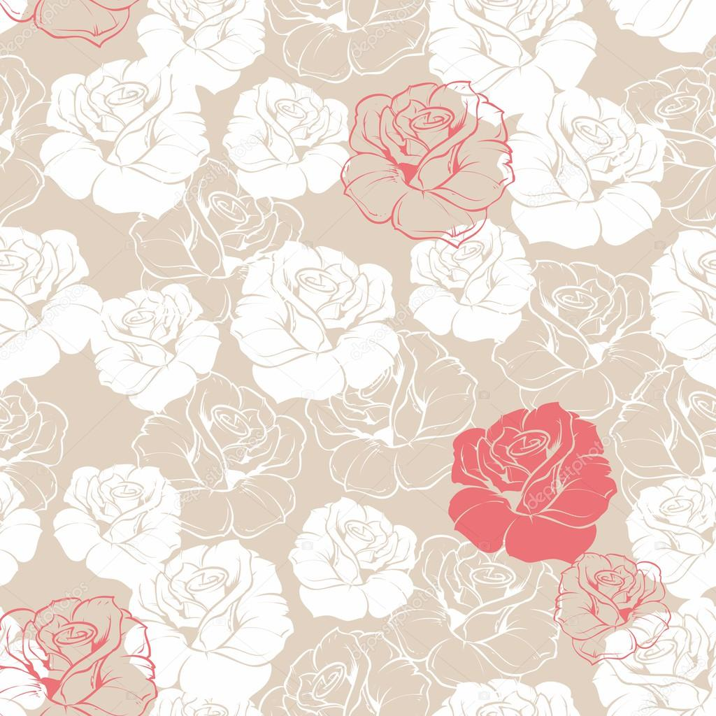 Seamless retro vector floral pattern with classic white and red roses on beige background. Beautiful abstract vintage texture with flowers and cute background for web design or desktop wallpaper.
