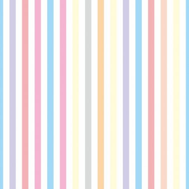 Seamless vector pastel stripes background or pattern illustration. Desktop wallpaper with colorful yellow, red, pink, green, blue, orange and violet stripes for kids website background
