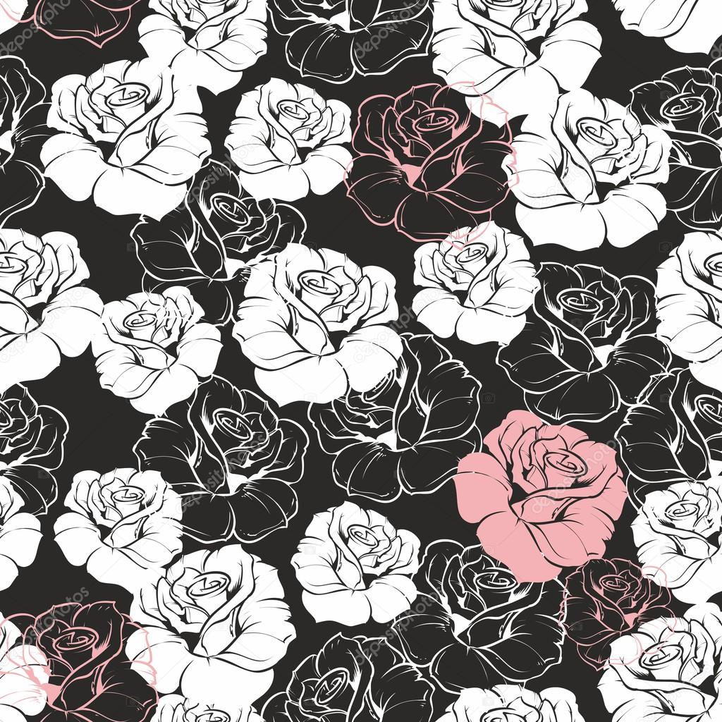 Seamless dark vector floral pattern with classic white and pink seamless dark vector floral pattern with classic white and pink roses on black background dhlflorist Choice Image