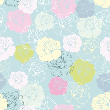 Seamless floral vector pattern with pink, yellow, green, white and blue retro roses on pastel blue background. Beautiful abstract texture with colorful flowers