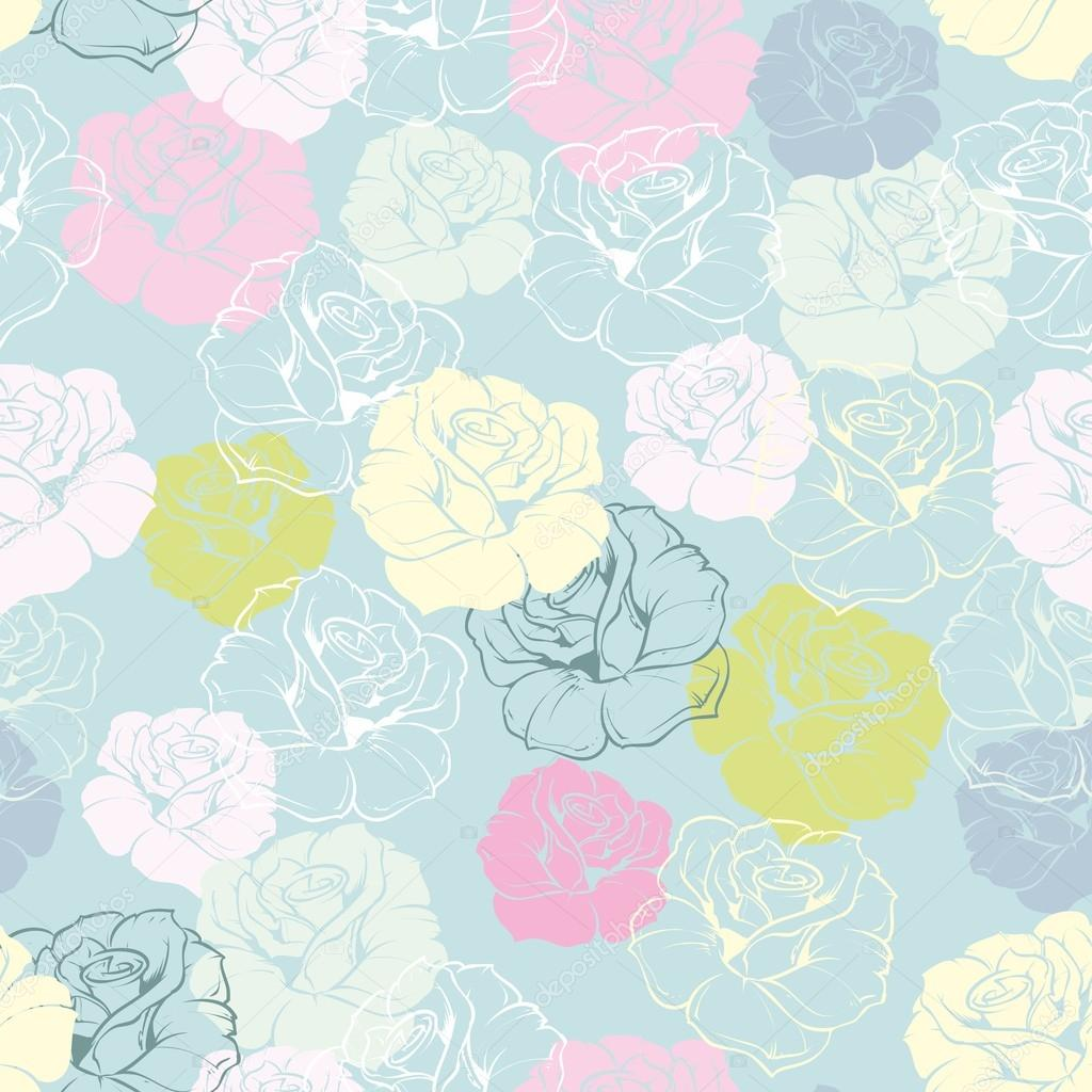 Seamless Floral Vector Pattern With Pink, Yellow, Green
