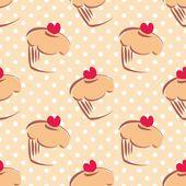 Fotografie nahtloses Vektormuster oder Textur mit Cupcakes, Muffins, süßem Kuchen mit rotem Herz oben und weißen Tupfen auf beigem Hintergrund mit Süßigkeiten für Desktophintergründe oder kulinarische Blog-Website