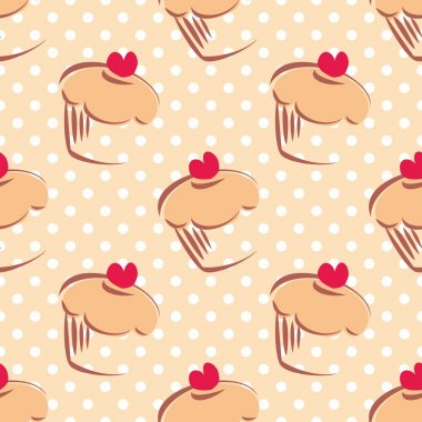 Seamless vector pattern or texture with cupcakes, muffins, sweet cake with red heart on top and white polka dots on beige background with sweets for desktop wallpaper or culinary blog website clip art vector