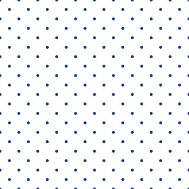 Seamless vector pattern with sailor navy blue polka dots isolated on white background.