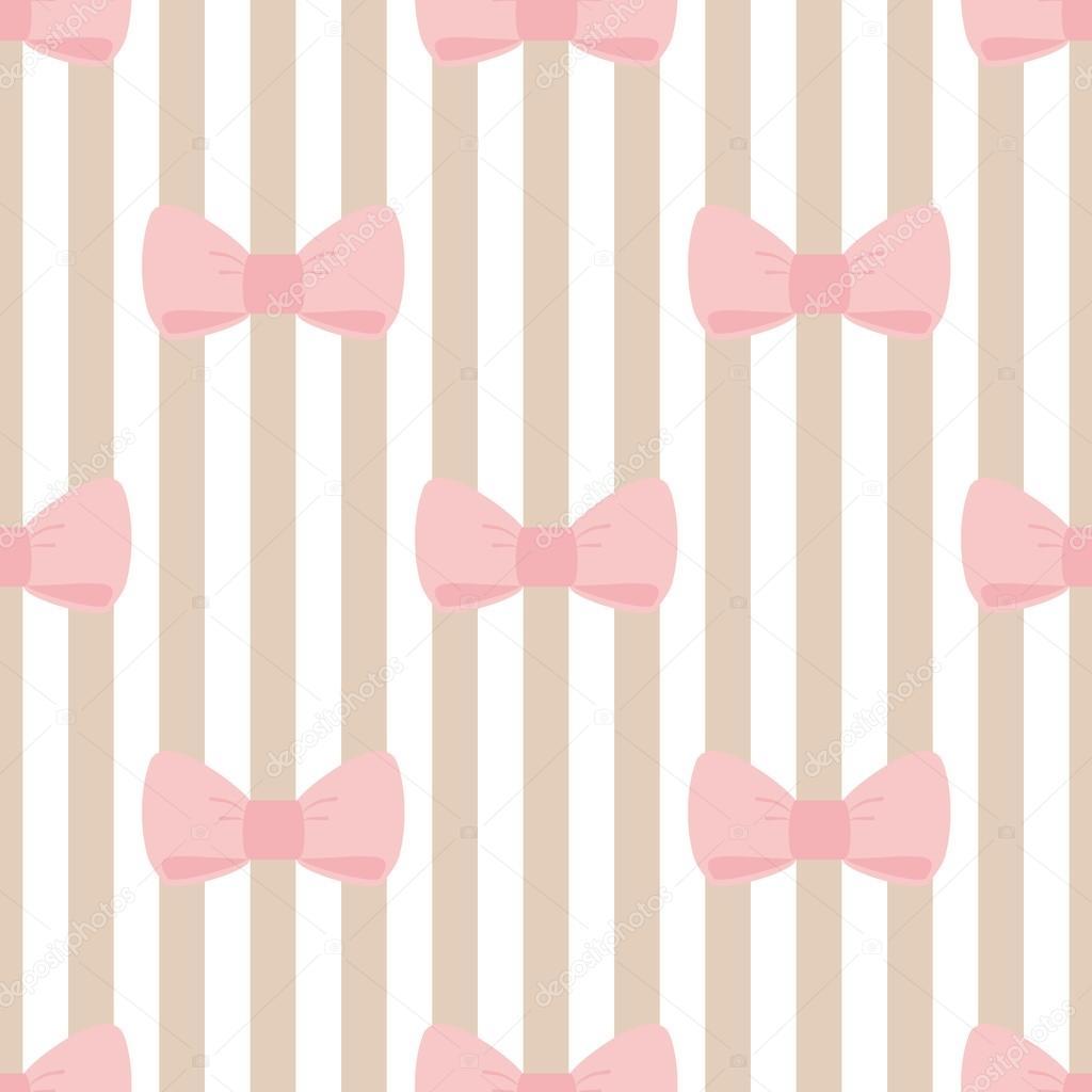 ベージュ ストリップ背景にパステル ピンクの弓とのシームレスなベクター パターン — ストックベクタ