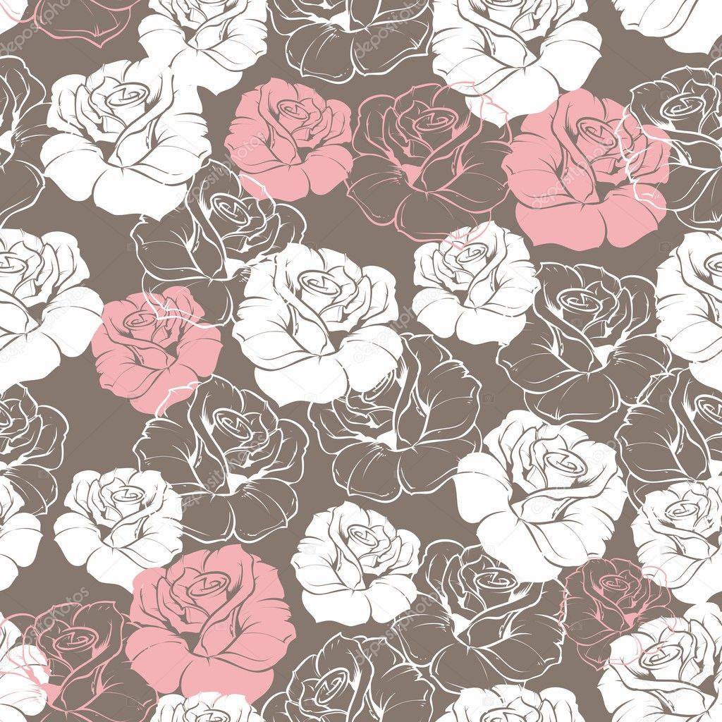 Seamless retro vector floral pattern with classic white and pink roses on brown background. Beautiful abstract vintage texture with flowers and cute background for web design or desktop wallpaper.
