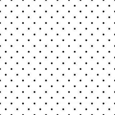 Seamless classic vector pattern with black polka dots on white background.