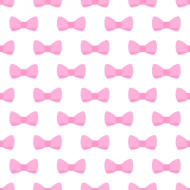 Seamless vector pattern with pastel pink bows on a white background