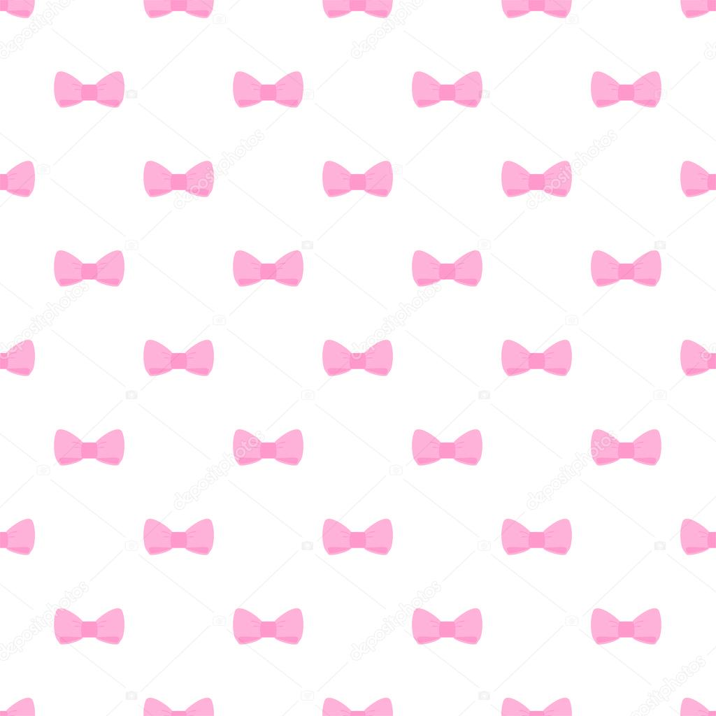 Seamless Vector Pattern With Cute Pastel Baby Pink Bows On White