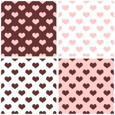 Seamless vector background set with hearts. Full of love pattern for valentines desktop wallpaper or website design in white, brown and pastel baby pink color
