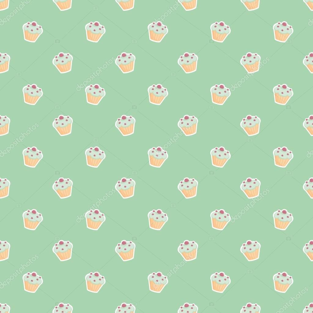 Seamless Vector Pattern Or Texture With Little Cupcakes Blueberry Muffins Sweet Cake On Mint Green Background Sweets For Desktop