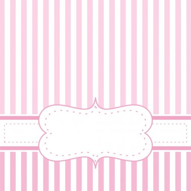Pink vector card invitation for baby shower, wedding or birthday party with white stripes. Cute background with white space to put your own text.