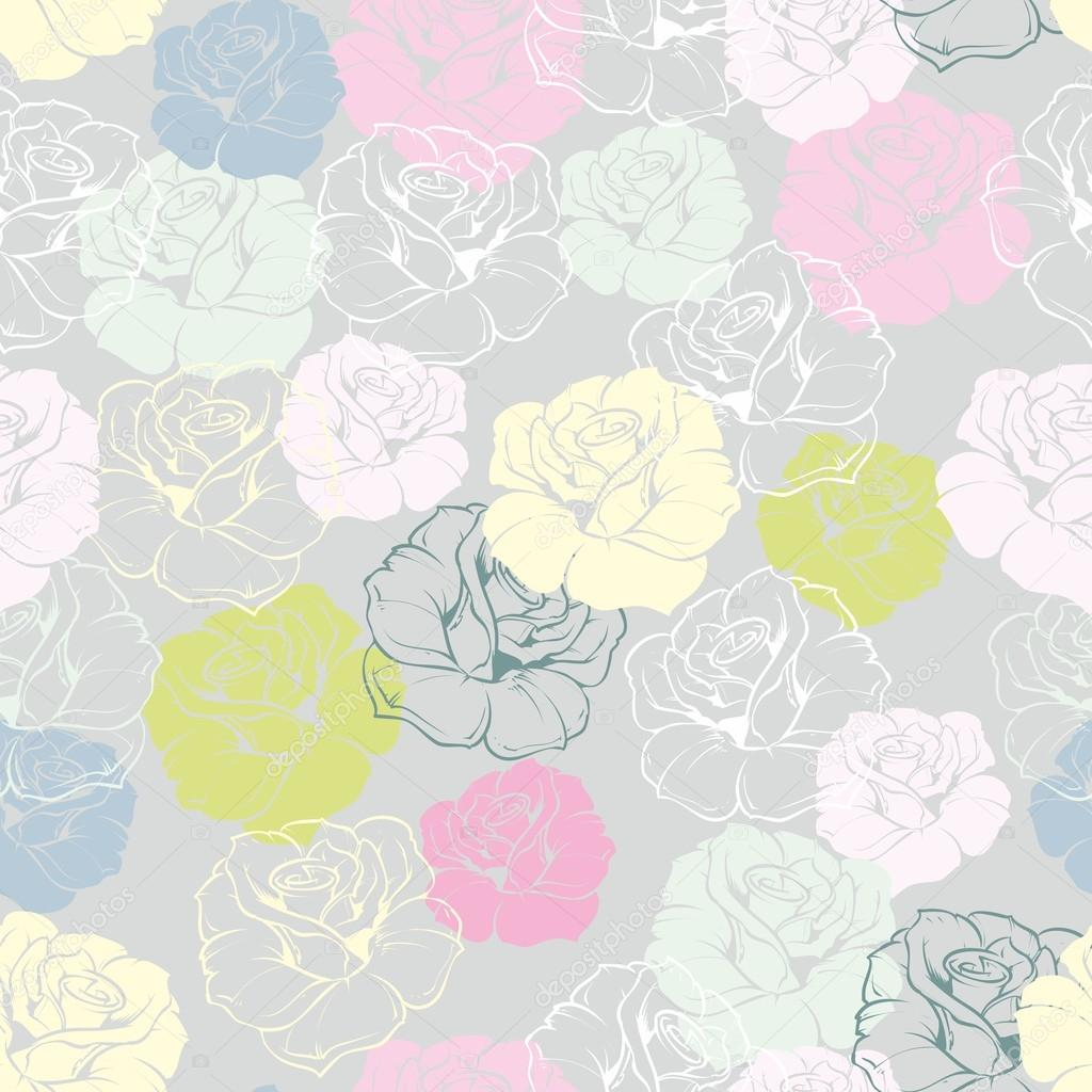 Seamless Floral Vector Pattern With Pastel Pink Yellow Mint Green White And Blue Roses On Grey