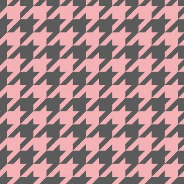 Houndstooth vector seamless pastel pink and dark grey pattern or tile background. Traditional Scottish plaid fabric collection for website background or desktop wallpaper.