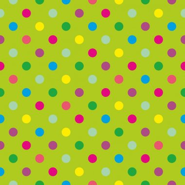 Seamless vector pattern or tile texture with colorful pink, purple, blue, mint green and yellow polka dots on fresh grass green background