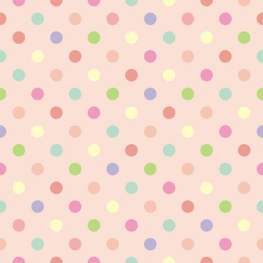 Colorful vector background with polka dots on baby pink background - retro seamless pattern or tile texture