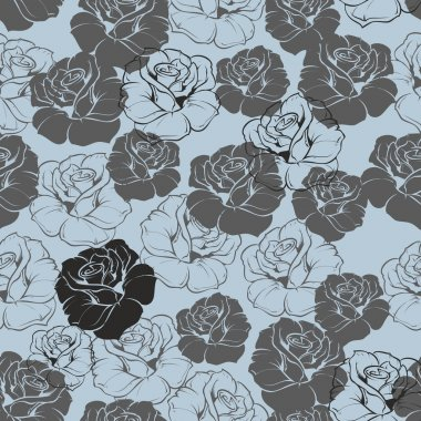 Seamless vector blue floral pattern with grey, navy blue and black retro roses on pastel blue background. Beautiful abstract vintage texture with pink flowers and cute background.