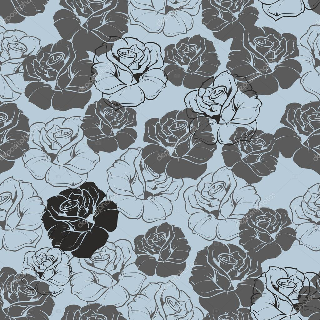 Background: navy blue floral | Seamless vector blue floral ...