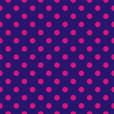Seamless vector pattern, tile background or texture with dark pink polka dots on a sailor navy blue background.