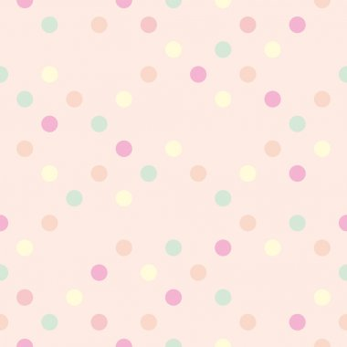 Colorful vector background with red, pink, green, blue and yellow polka dots on baby pink background - retro seamless pattern, wallpaper or tile texture