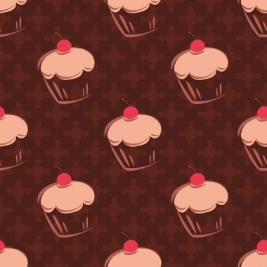 Seamless vector pattern with cherry cupcakes, muffins, sweet cake and polka dots on chocolate brown tile background with sweets