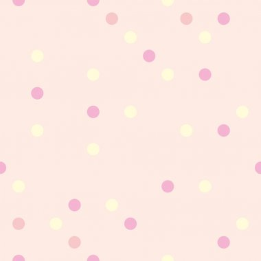 Colorful vector tile pattern with yellow, red and pink polka dots on cute baby pink background
