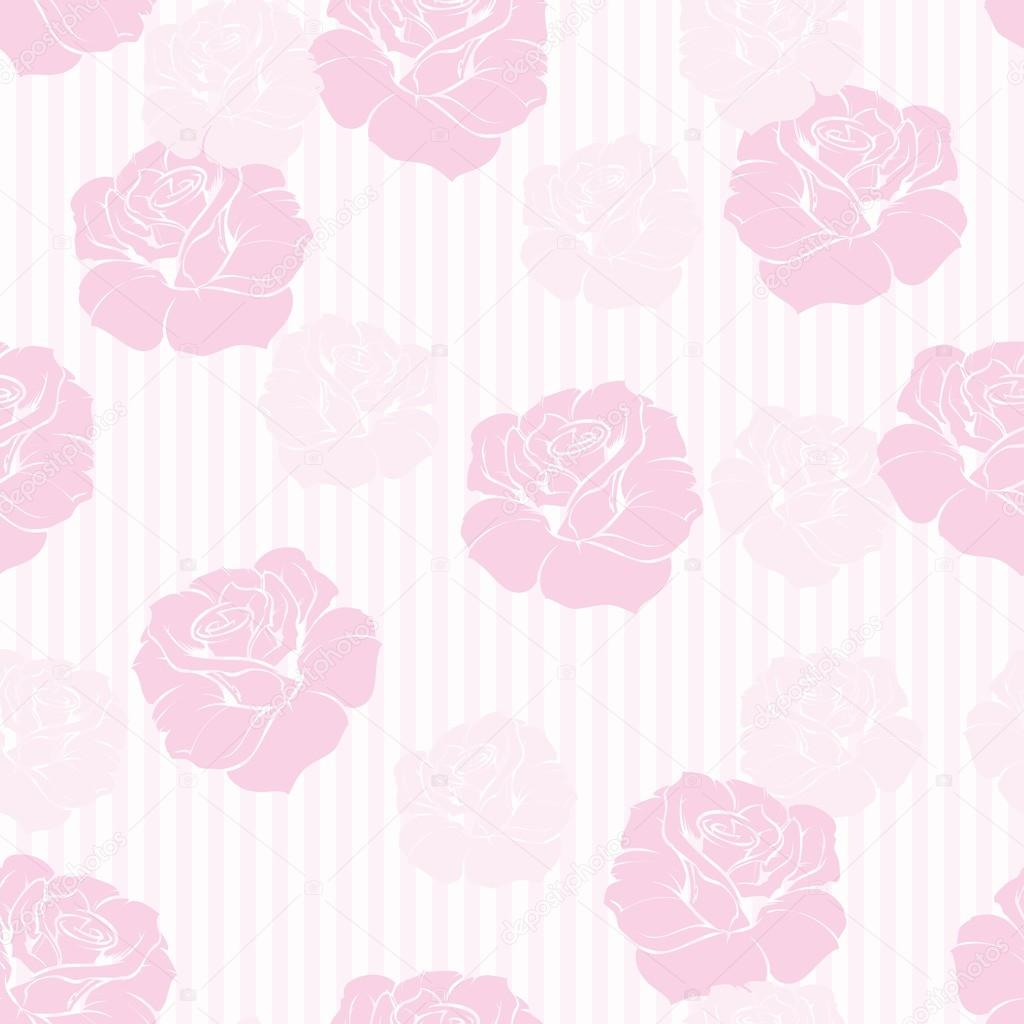 Seamless Retro Vector Floral Pattern With Elegant Pink Roses On Sweet Candy And White Stripes Background For Tile Decoration Wallpaper By