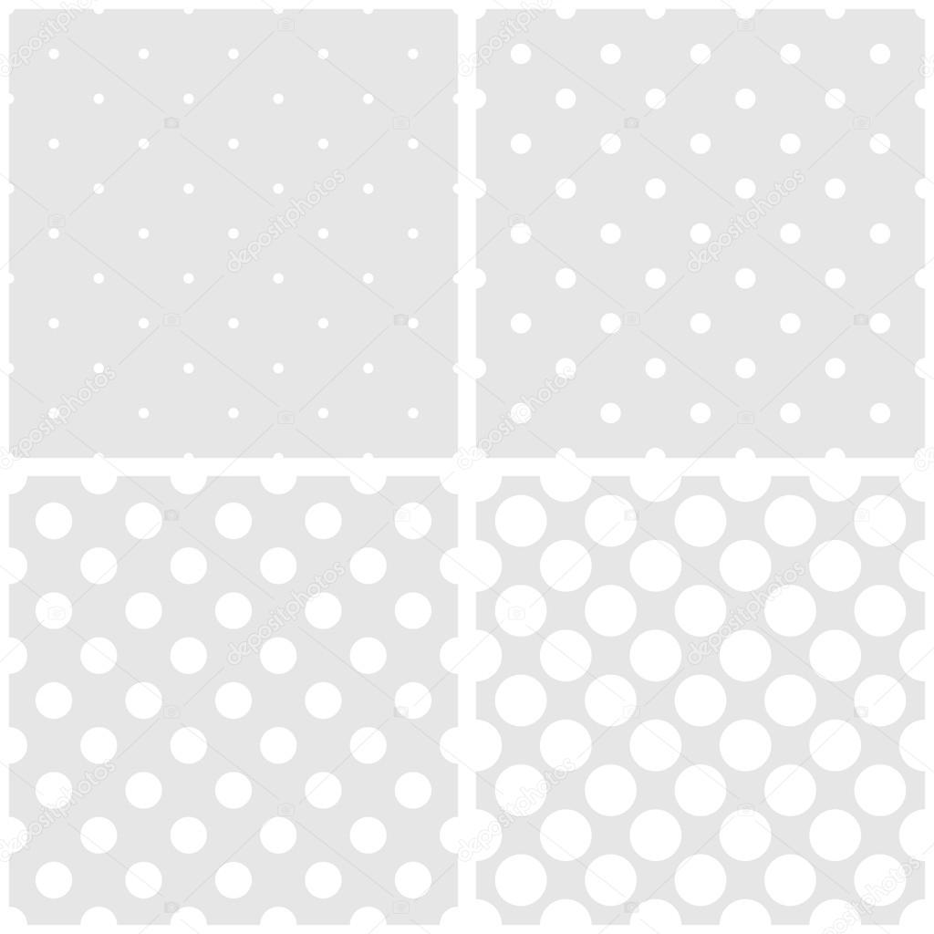 Sömlös vektor vit och grå mönster eller kakel bakgrund med stora och små  prickar — Stock f770f068a6ed1