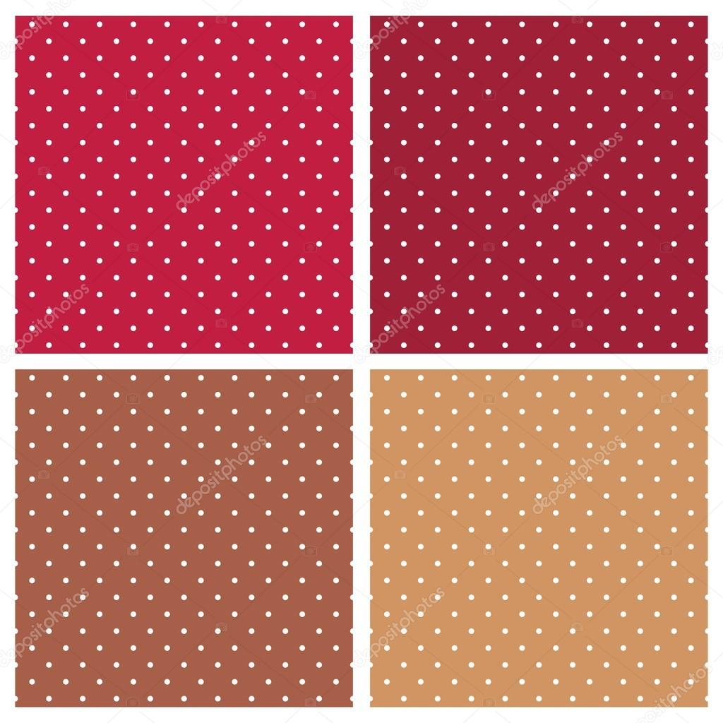 Polka dots vector tile background red and brown set.