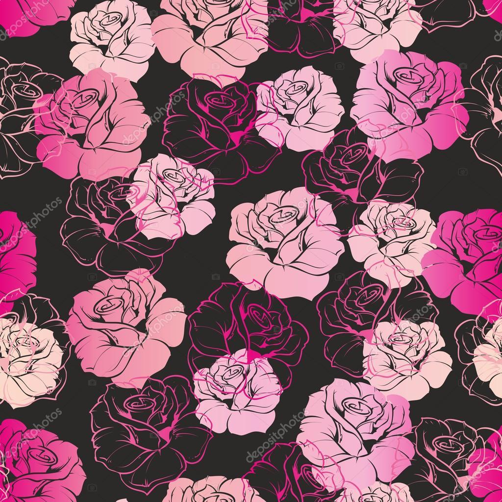 Seamless vector dark floral pattern or tile background with pink seamless vector dark floral pattern or tile background with pink and white retro roses on black dhlflorist Choice Image