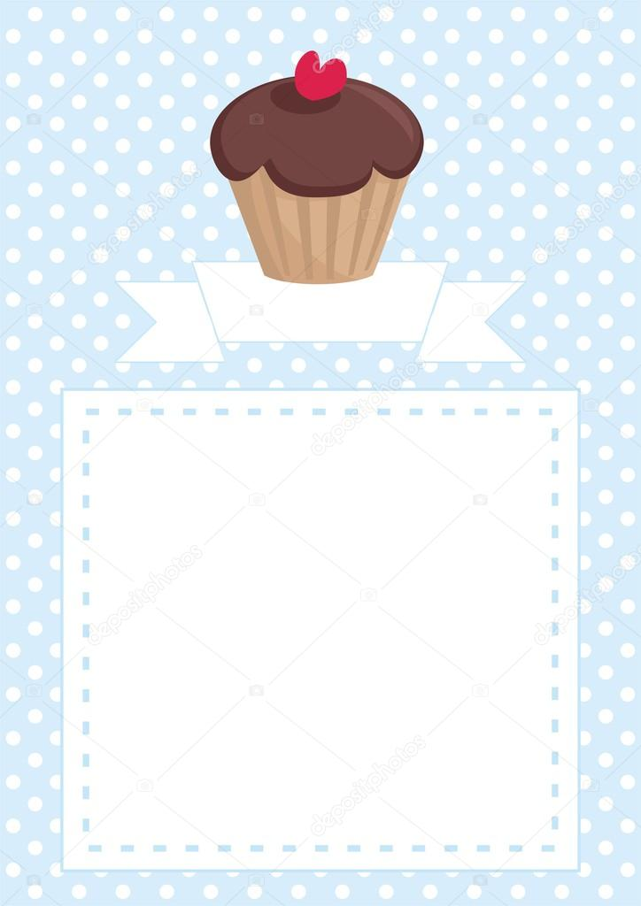 Restaurant vector menu template or baby shower invitation with restaurant vector menu template or baby shower invitation with chocolate cupcake on blue pattern with white stopboris Images