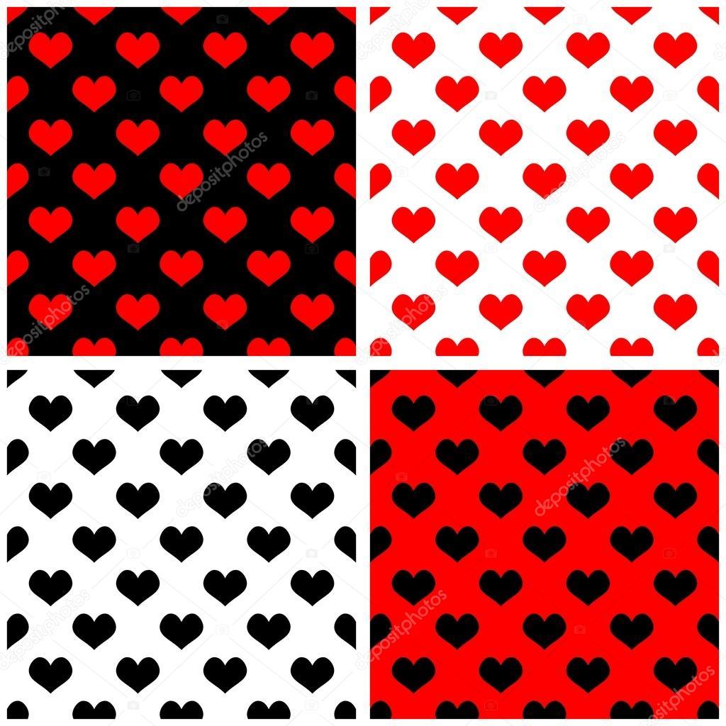 Nahtloser vektor rot schwarz wei hintergrund set mit herzen voller liebe fliesenmuster - Fliesenmuster schwarz weiay ...