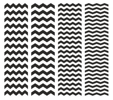 Tile chevron vector pattern set with black zig zag on white background
